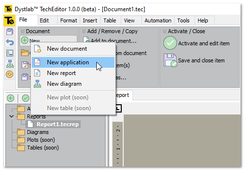 techeditor ui ribbon new application