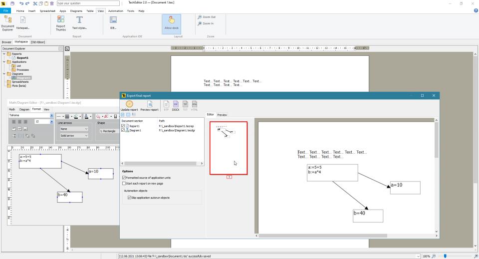 An example of combining a text part of a document and a diagram with mathematical inserts in the Mathcad style (will be available in TechEditor 2.0).=====Пример объединения текстовой части документа и диаграммы с математическими вставками в стиле Mathcad (будет доступно в версии TechEditor 2.0).